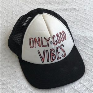 ONLY GOOD VIBES Quote Trucker Hat Snapback